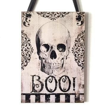 Halloween Party Decoration Supplies Rustic Wooden Plaque Skull Haing Board Wall Sign Halloween Holiday Home Decorations Favors