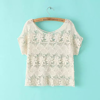 Floral Pattern Lace Crochet Beaded Short-Sleeve Shirt