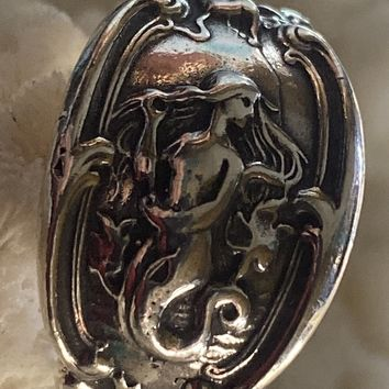 Mermaid Spoon Ring in Sterling 6.5 Adjustable, reproduction