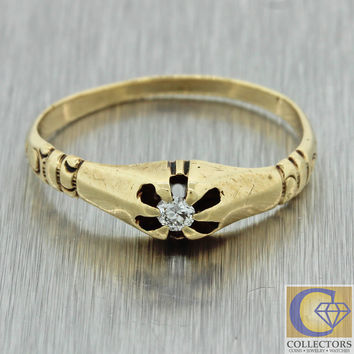 1880s Antique Victorian 14k Solid Yellow Gold .05ct Old Mine Cut Diamond Ring