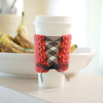 Crochet Coffee Cup Cozy Sleeve Rouge Corset Travel Cup Cozy Sleeve with Black Ribbon Laceup