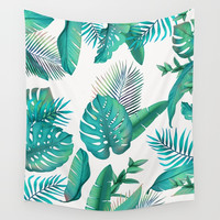 Tropical leafs pattern Wall Tapestry by printapix