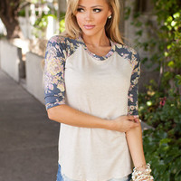 Wildflower 3/4 Sleeve Top Navy
