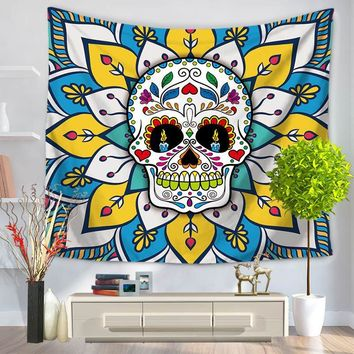 Indian Mandala Colorful Skull Printed Wall Hanging Tapestry Beach Throw Mat Hippie Bedspread Gypsy Yoga Mat Blanket Tippet