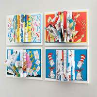 Childrens Room Decor, Dr. Seuss Art, Wall Art, Set of 4 Book Sculptures