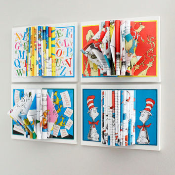 childrens room decor dr seuss art wall art set of 4 book