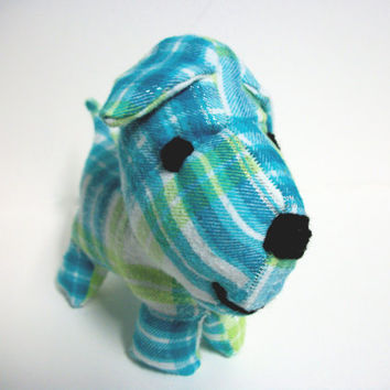 Plush Dog Ecofriendly Blue and Green Midge by RopeSwingStudio