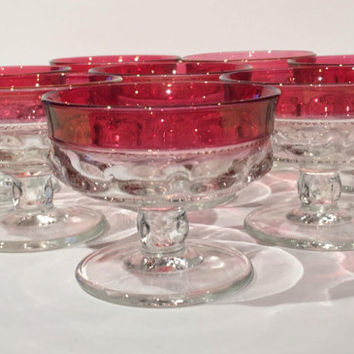 Ruby Kings Crown Sherbet Cups, Set 4 Indiana Glass Cranberry Glass Thumbprint Champagne Coupes, Tiffin Kings Crown Champagne Coupes,