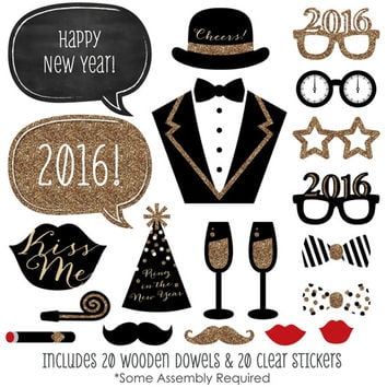 20 pc. New Years Eve - Gold Photo Booth Props - New Years Kit with Mustache, Hat, Bow Tie, Glasses and Custom Talk Bubble - 2016 Photo Booth