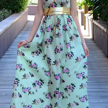 AMA FLORAL MAXI DRESS in MINT