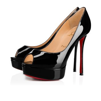 Fetish Peep 130 Black Patent Leather - Women Shoes - Christian Louboutin