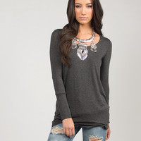 Double Layered Long Sleeve Tunic - Large
