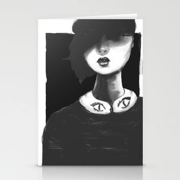 Contemporary Black and White Collar  Stationery Cards by Ben Geiger