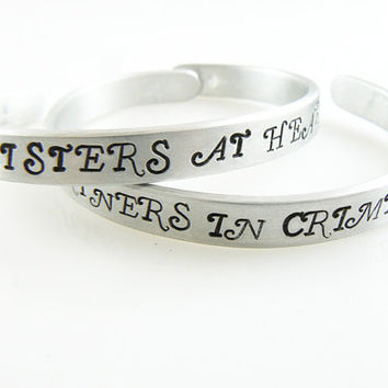 Set For Two, Partners In Crime, Sisters at Heart, Set of 2 Personalized Bracelets, Best Friend, Gift for Friend, Sisters