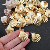 Gold Shell Charms, Scallop Shell, Cockle Shell, Seashell Charms, Clam Shell, Gold Shell Pendant, Beach Charm, 22k Matte Gold Plated 2pc