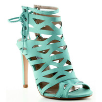 Cape Robbin Aqua Blue Open toe Strappy Heels