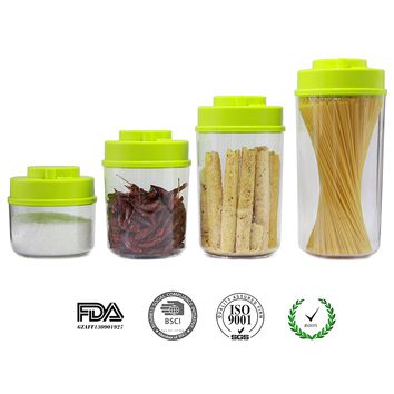 """Vacare Food Storage Containers with""""Patented and Time-Mark Design""""-Set of 5,Best Seal Canister For Herb and Food,BPA Free,Stain-resistant and odor-proof (SGS,LFGB,FDA Certification)YFTG-Green"""
