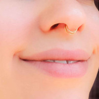 20% OFF Fake Septum, Fake Nose Hoop, Gold septum Ring, Gold Nose Ring, Fake Nose Ring, conch piercing, Septum Piercing, Double Septum, No Pi