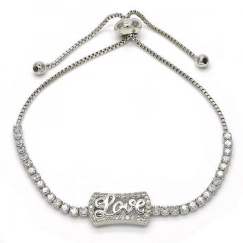 Rhodium Layered 03.155.0038.10 Fancy Bracelet, Love Design, with White Crystal, Polished Finish, Rhodium Tone