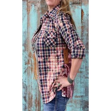 NuVintage Multi-Plaid and Pink Sequins Shirt