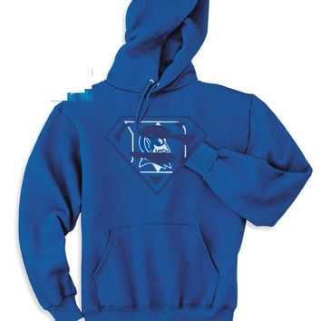 Blue Duke Custom Blue Devils Bluedevils Superfan Superteam Superman Hoodie Hooded Sweatshirt All sizes Ladies Unisex Child Toddler Men