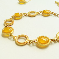 Gold Bracelet, Honey Gold Bracelet, Honey Orange Bracelet, Yellow Resin Disc Bracelet, Resin Jewelry For Her