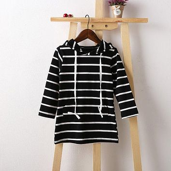 Fashion Toddler Baby Girls Kids Striped Long Sleeve Dress Casual Hooded Dress 2-7Y