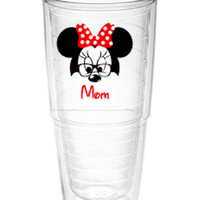 Minnie Mouse with glasses with name Tumbler ~ Perfect gift for Disney lover ~ personalized Tervis cup 24oz - Mother's day gift - cruise cup