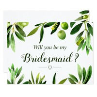 Elegant Olive Boho Garden Bridesmaid Invitation