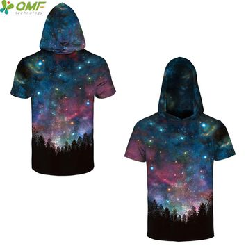 Classical Aurora Forest 3d Print Male Skateboarding Hoodie Short Sleeve Blue Galaxy Space Hooded T-shirts Tops Gym Hoody Tees