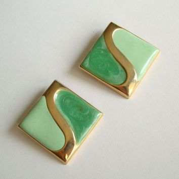 Poured Green Enamel Diamond-Shaped Clip On Earrings