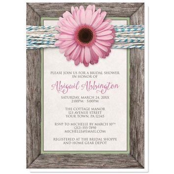 Rustic Chic Pink Daisy Turquoise Wood Bridal Shower Invitations for only $1.95