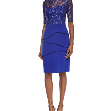Lace & Crepe Sheath Dress, Cobalt, Size: