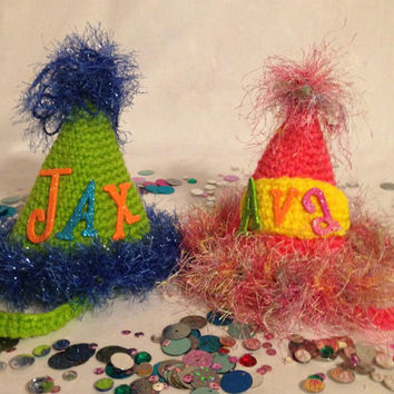 Personalized Birthday Party Hat/Crochet Photography Prop/Birthday Hat/Party Hat/Personalized Name Prop/Name Prop/Prop/Newborn Picture Hat