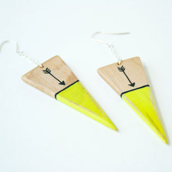 Hand-Painted Wooden Triangle Dangle Earrings in Neon Yellow and Maple