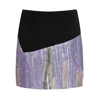 Abstract Cave Tweed Pencil Skirt In Midnight Purple