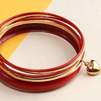 Colored Bangle Set with Heart Dangle
