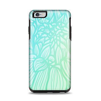 The Faded Blue & Green Subtle Floral Apple iPhone 6 Plus Otterbox Symmetry Case Skin Set