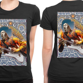 Jimi Hendrix And Pink Floyd Concert Poster 2 Sided Womens T Shirt