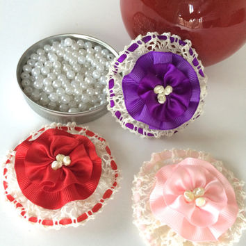 3 pieces of ribbon flowers,lace flower applique,scrapbooking,embellishment, card making, sewing, hair bows, gift wrapping,headbands.