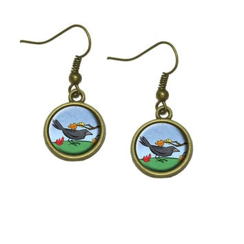 Crow in Autumn Dangle Drop Earrings