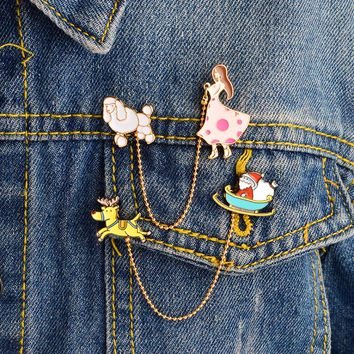 Miss Zoe Santa Claus Sled deer girl dog Brooch Pins with Chain DIY Button Pin Denim Jacket Pin Badge Jewelry Gift for Kids