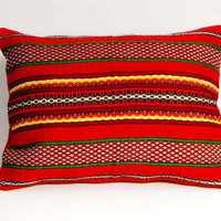 Coral Red / Striped Pillow Case, Woven Cotton Pillow Cover, Striped Motif Pillow Cower, Cotton Pillow Case
