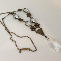 Crystal Teardrop Pendant, Victorian Necklace, Vintage Sadie Green Jewelry