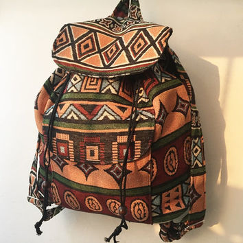 boho rucksack, ikat backpack, aztec school bag, tribal backpack, hippie backpack, native american bag,nepali shoulder bag,gift idea B039
