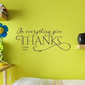 in everything give thanks christian quotes wall stickers home decoration living room bedroom vinyl art removable decals black