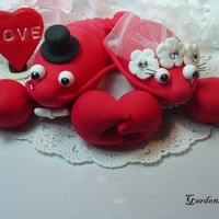 Red Lobster Love Wedding Cake Topper with Rings by Garden4Arts