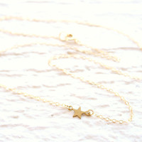 Floating Gold Star Necklace, Gold Sideways Necklace, Tiny Star Necklace, Dainty Gold Necklace, Short Gold Necklace, Small Star Necklace