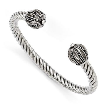 Stainless Steel Twisted Antiqued Crown Cuff Bracelet