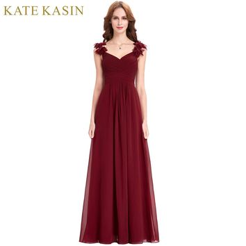Bridesmaid Long Chiffon Applique Prom Dresses Cheap Floor Length Wedding Bridesmaid Gown Formal Burgundy Dress